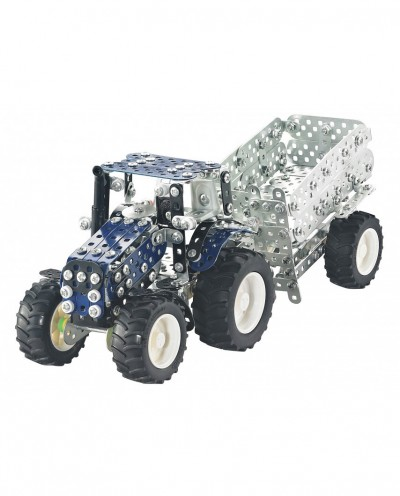 Tronico Mini Series New Holland T4.75 Tractor with Trailer - 744 Parts - DIY Metal Kit T10056