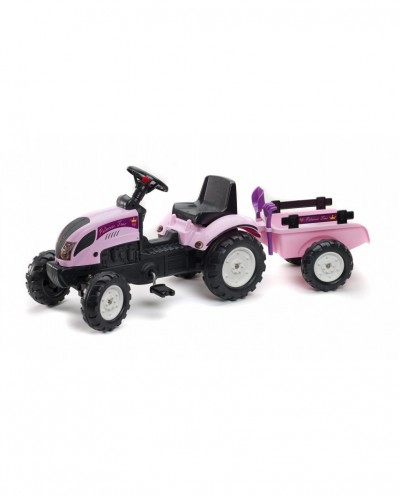 Falk Pink Princess Trac tractor with Trailer, Shovel and Rake, Ride-on + 2 years FA2056C