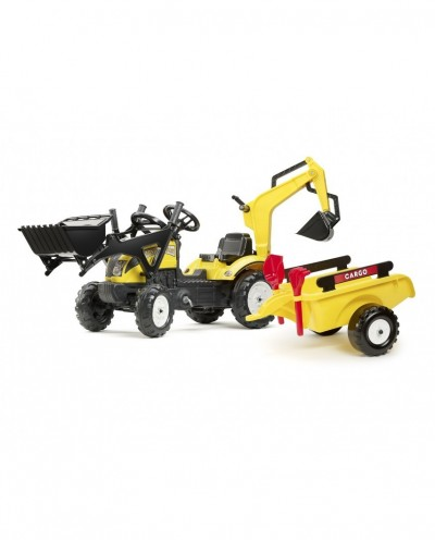 Falk Yellow Ranch Tract with Backhoe, Excavator, Trailer and shovel & rake, Ride-on +2 years FA2055CN