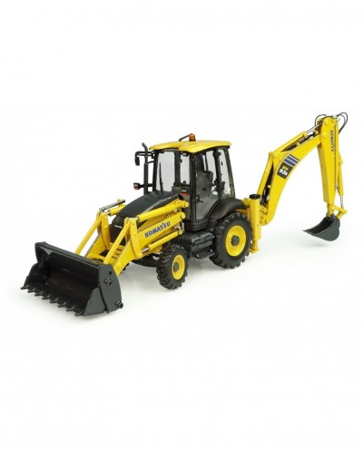 Universal Hobbies 1/50 Scale Komatsu WB93-R 2WD Excavator with Front Loader and Backhoe Diecast Replica UH8142