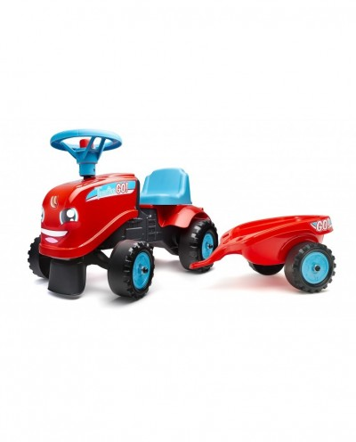 Falk Go! Red Tractor with Trailer and 2 sets of stickers, Ride-on and Push-along +1.5 years FA200B