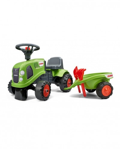 Falk ClaasTractor with trailer, Rake and Shovel, 2 sets of stickers, Ride-on and Push-along +1.5 years FA212C