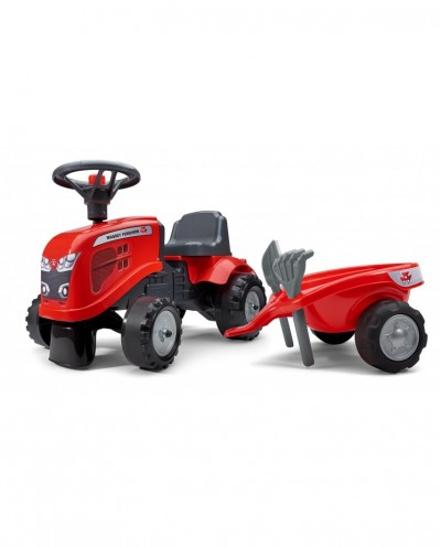 Falk Massey Ferguson Tractor with trailer, Rake and Shovel,  2 sets of stickers, Ride-on and Push-along +1.5 years FA241C