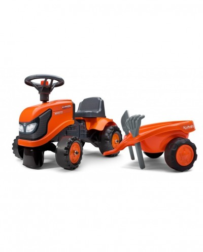 Falk Kubota Tractor with trailer, Rake and Shovel,  2 sets of stickers, Ride-on and Push-along +1.5 years FA260C