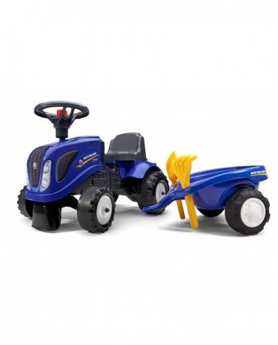 Falk New Holland Tractor with trailer, Rake and Shovel,  2 sets of stickers, Ride-on and Push-along +1.5 years FA280C