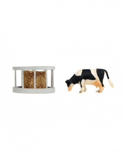 Kids Globe 1:32 Scale Feeder ring with round bale and cow KG571961
