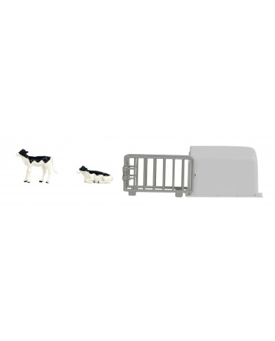 Kids Globe 1:32 scale Calves house with 2 calves Black & White Laying and Standing KG571964