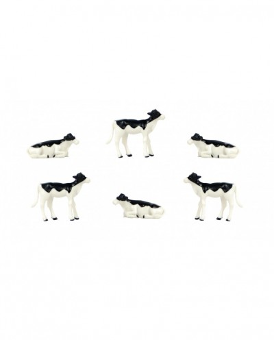 Kids Globe 1:32 Scale Black & White Calves Laying and Standing 6 pieces KG571974