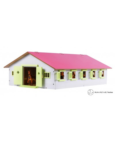Kids Globe 1:32 Scale Wooden Horse stable with 9 Box stalls Pink/White/ Light Green KG610188