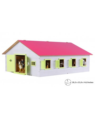 Kids Globe 1:24 Scale Wooden Horse stable with 7 Box stalls, Pink/White/Light Green KG610189