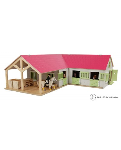 Kids Globe 1:24 Scale Wooden Horse stable with 4 boxes, storage and wash box Pink/White/Light Green KG610210