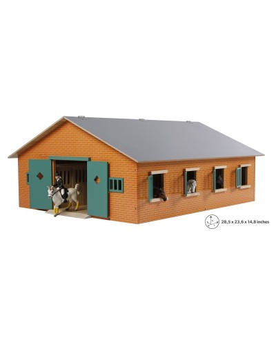 Kids Globe 1:24 Scale Wooden Horse stable with 7 Box stalls, Brick and Green KG610595