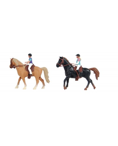 Kids Globe 1:24 Scale Horse playset with Brown horse & 1 rider KG640078