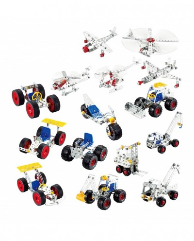 Tronico Metal Construction set - 15 in 1 - 500 parts