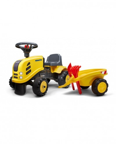 Falk Komatsu Tractor with trailer, Rake and Shovel,  2 sets of stickers, Ride-on and Push-along +1.5 years FA286C