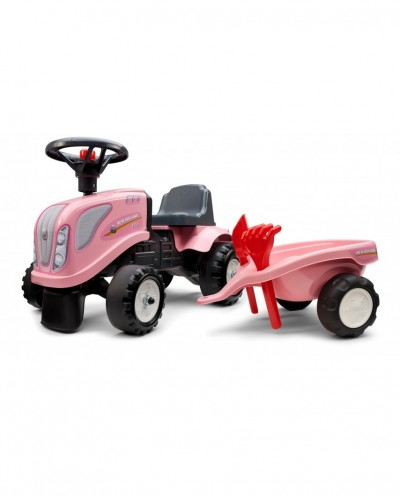 """Falk New Holland """"Girly"""" Tractor with trailer, Rake and Shovel,  2 sets of stickers, Ride-on and Push-along +1.5 years FA288C"""