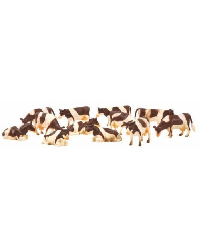 Kids Globe 1:32 Scale Brown & White Cows Laying and Standing 12 pieces KG571968
