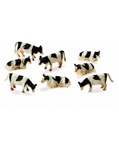 Kids Globe 1:87 Scale Black & White Cows Laying and Standing 8 pieces KG571878
