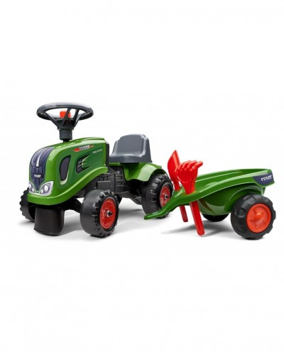 Falk Fendt Tractor with trailer, Rake and Shovel,  2 sets of stickers, Ride-on and Push-along +1.5 years FA242C
