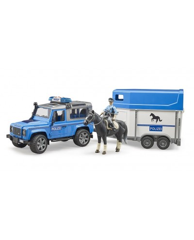 Land Rover Police w horse trailer and police man