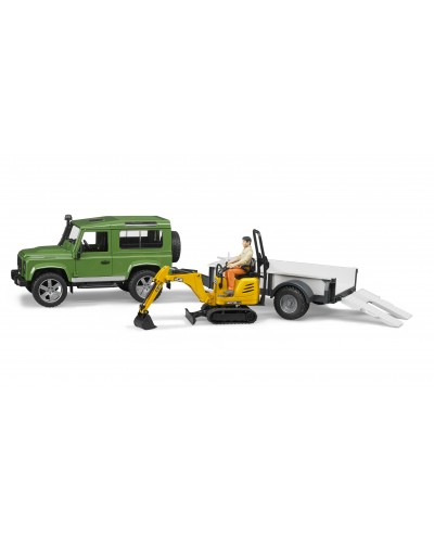 Land Rover Defender with trailer, CAT and man