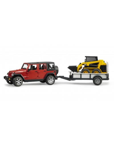 Jeep Wrangler unlimited Rubicon w trailer and CAT skid steer