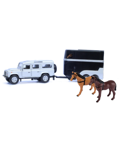 Land Rover Defender with horse trailer and 2 horses