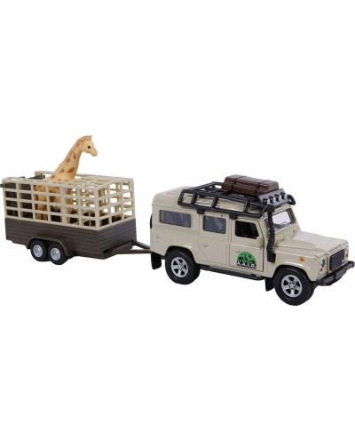 Land Rover Defender with giraffe trailer and a giraffe