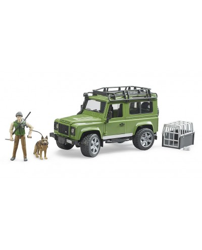 Land Rover Defender w forester and dog