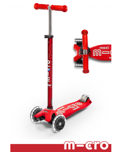 Maxi Deluxe LED Micro Kickboard Scooter - Red -