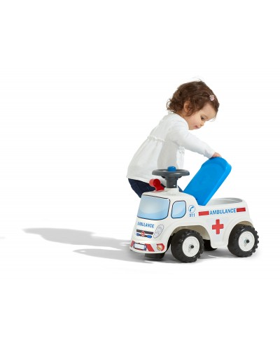 Falk Ambulance Vehicle with opening seat and steering wheel with a horn, Ride-on and Push-along +1.5 years FA701